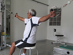 Man using specialized equipment at Platypus METT for resistance training