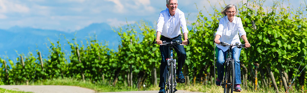 Middle aged couple biking down a path in a vineyard on a sunny day